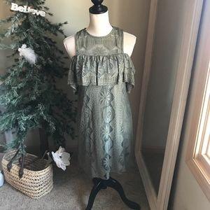Miami Olive Green Cold Shoulder Boho Dress, Size S